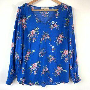Loft Plus Blue Floral Print Ruffle V-Neck Blouse 1